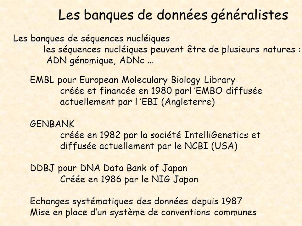 Les banques de données généralistes Les banques de séquences nucléiques les séquences nucléiques peuvent être de plusieurs natures : ADN génomique, AD