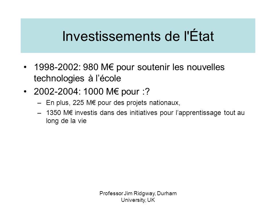 Professor Jim Ridgway, Durham University, UK Investissements de l État 1998-2002: 980 M pour soutenir les nouvelles technologies à lécole 2002-2004: 1000 M pour :.
