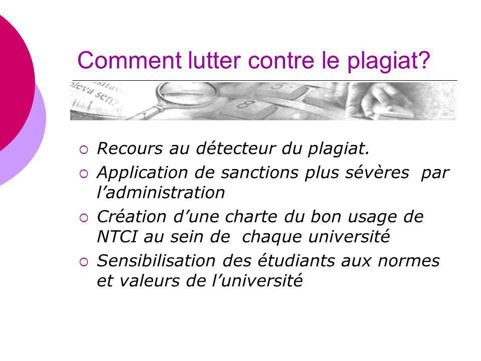 Comment lutter contre le plagiat? Recours au détecteur du plagiat. Application de sanctions plus sévères par ladministration Création dune charte du b