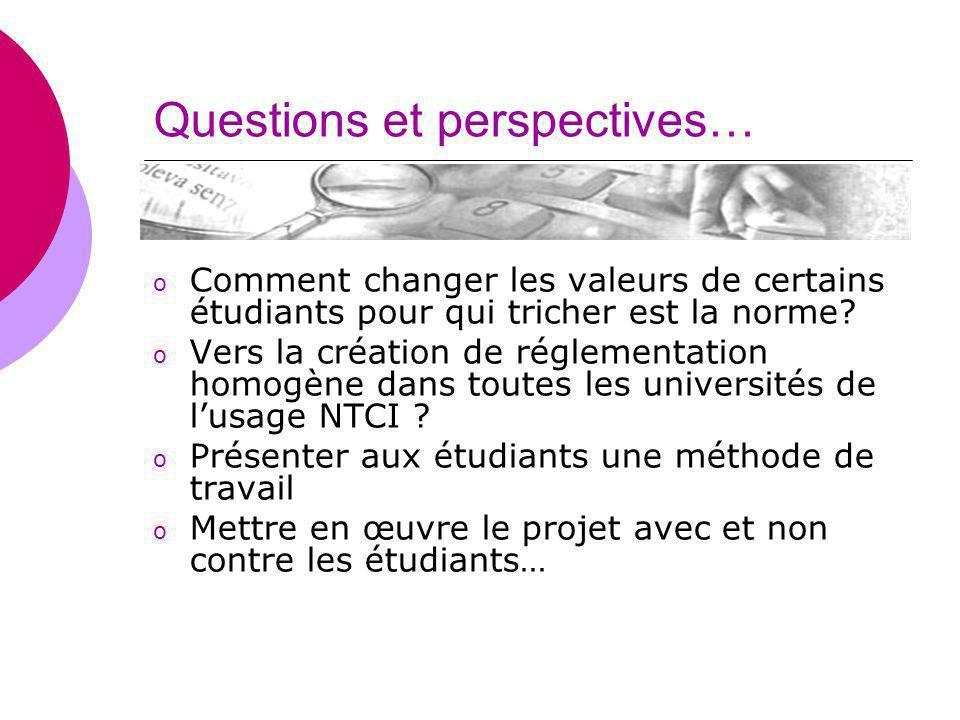Questions et perspectives… o Comment changer les valeurs de certains étudiants pour qui tricher est la norme? o Vers la création de réglementation hom