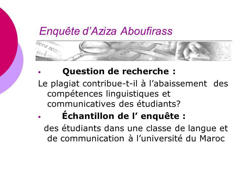 Enquête dAziza Aboufirass Question de recherche : Le plagiat contribue-t-il à labaissement des compétences linguistiques et communicatives des étudian