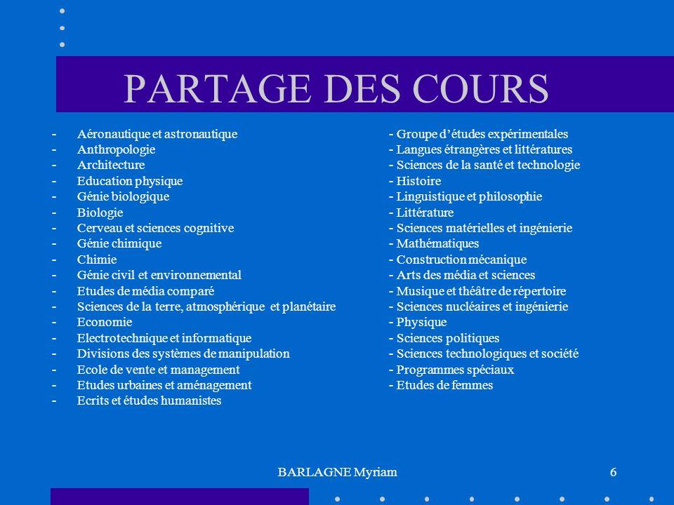 BARLAGNE Myriam6 PARTAGE DES COURS -Aéronautique et astronautique- Groupe détudes expérimentales -Anthropologie- Langues étrangères et littératures -A