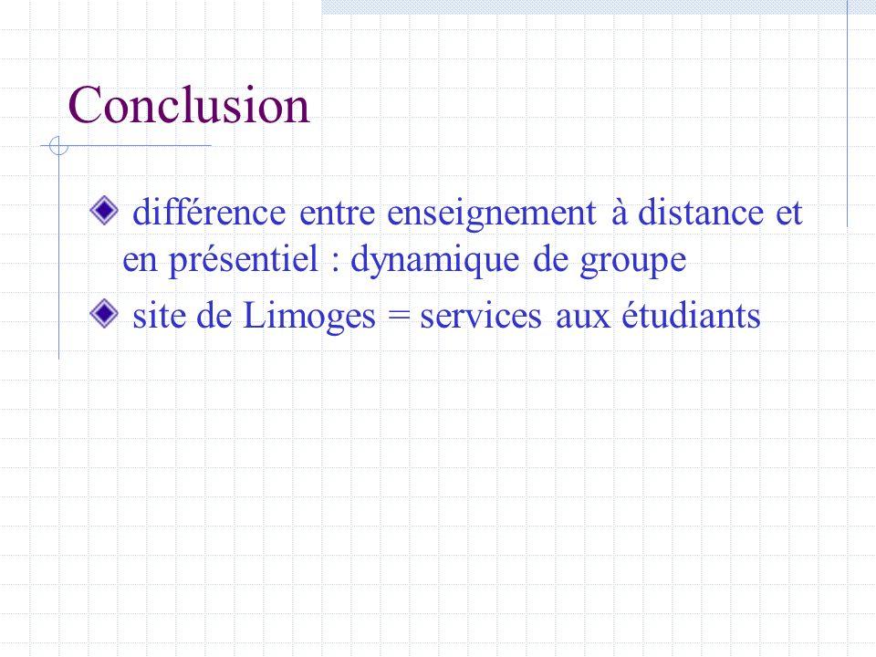 Conclusion différence entre enseignement à distance et en présentiel : dynamique de groupe site de Limoges = services aux étudiants