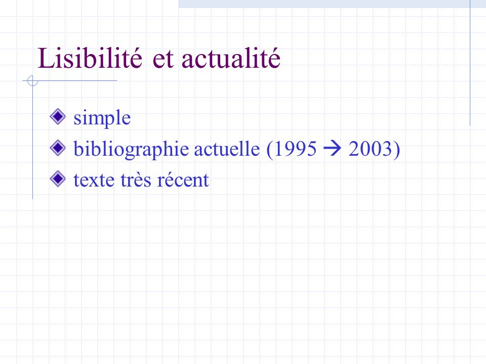 Lisibilité et actualité simple bibliographie actuelle (1995 2003) texte très récent
