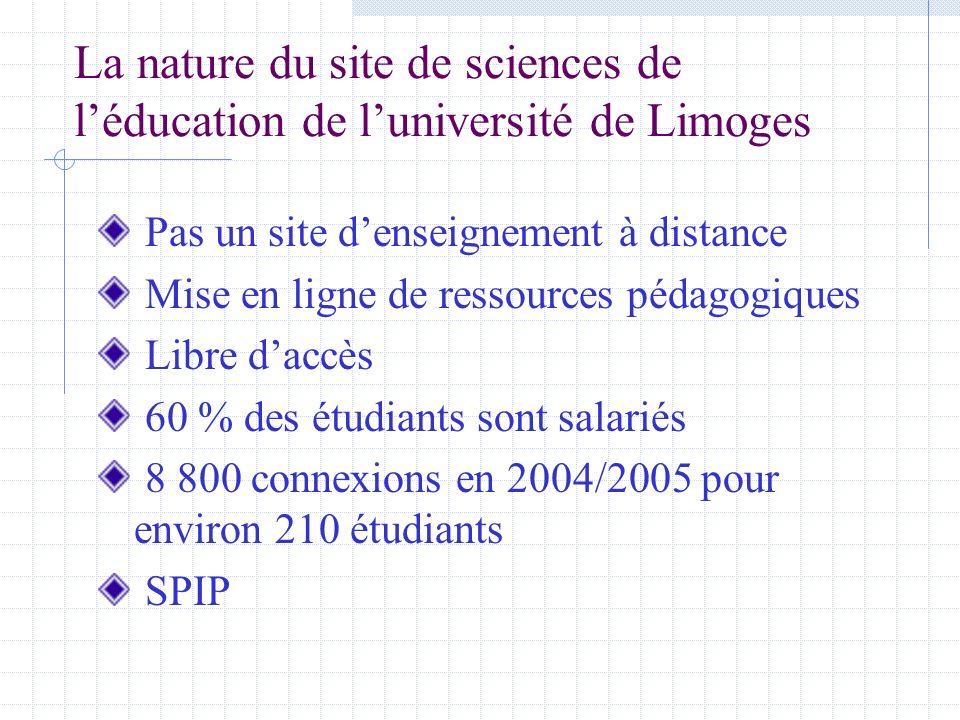 La nature du site de sciences de léducation de luniversité de Limoges Pas un site denseignement à distance Mise en ligne de ressources pédagogiques Libre daccès 60 % des étudiants sont salariés 8 800 connexions en 2004/2005 pour environ 210 étudiants SPIP