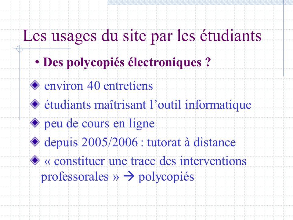 Les usages du site par les étudiants environ 40 entretiens étudiants maîtrisant loutil informatique peu de cours en ligne depuis 2005/2006 : tutorat à distance « constituer une trace des interventions professorales » polycopiés Des polycopiés électroniques
