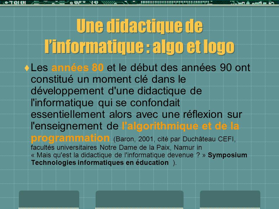 Informatique-discipline /informatique-outil En filigrane de ces questions apparaît le vieux débat « informatique discipline à enseigner » versus « informatique outil pour enseigner».