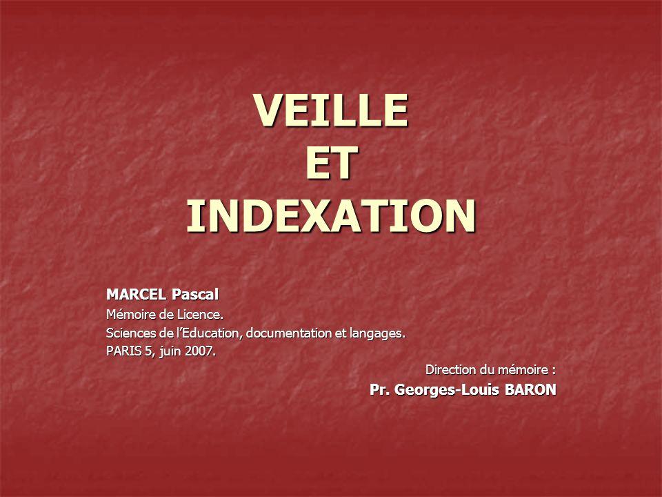 VEILLE ET INDEXATION MARCEL Pascal Mémoire de Licence.
