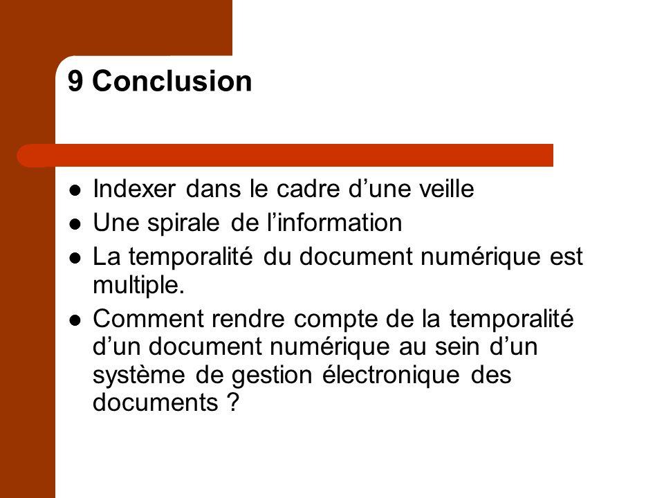 9 Conclusion Indexer dans le cadre dune veille Une spirale de linformation La temporalité du document numérique est multiple.