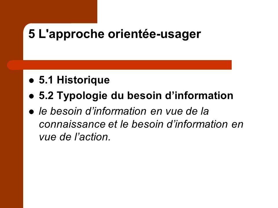 5 L approche orientée-usager 5.1 Historique 5.2 Typologie du besoin dinformation le besoin dinformation en vue de la connaissance et le besoin dinformation en vue de laction.