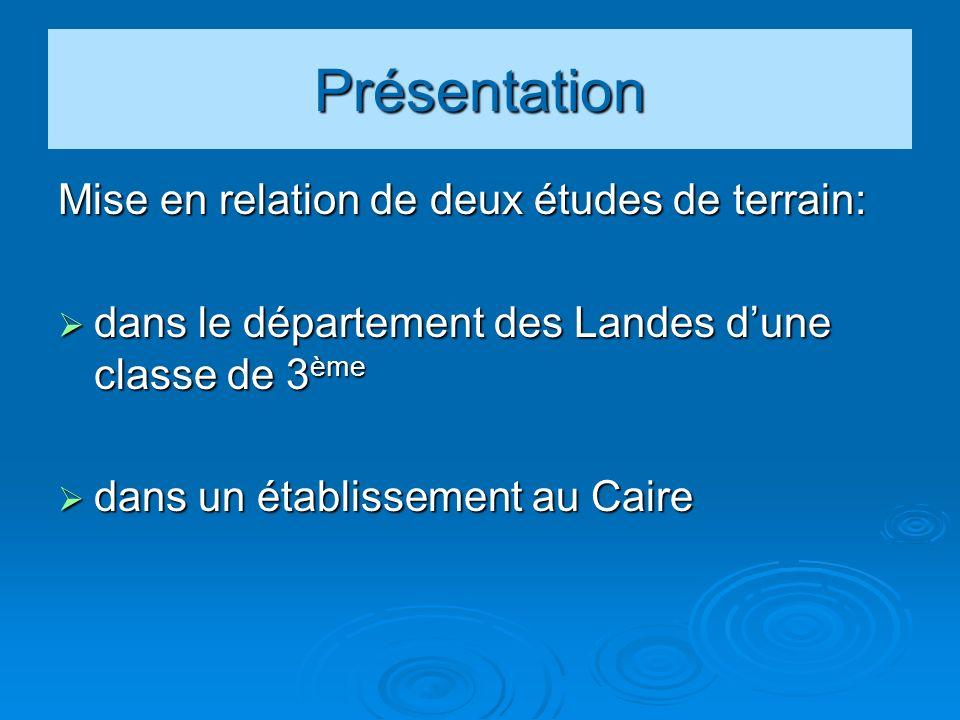Présentation Mise en relation de deux études de terrain: dans le département des Landes dune classe de 3 ème dans le département des Landes dune classe de 3 ème dans un établissement au Caire dans un établissement au Caire