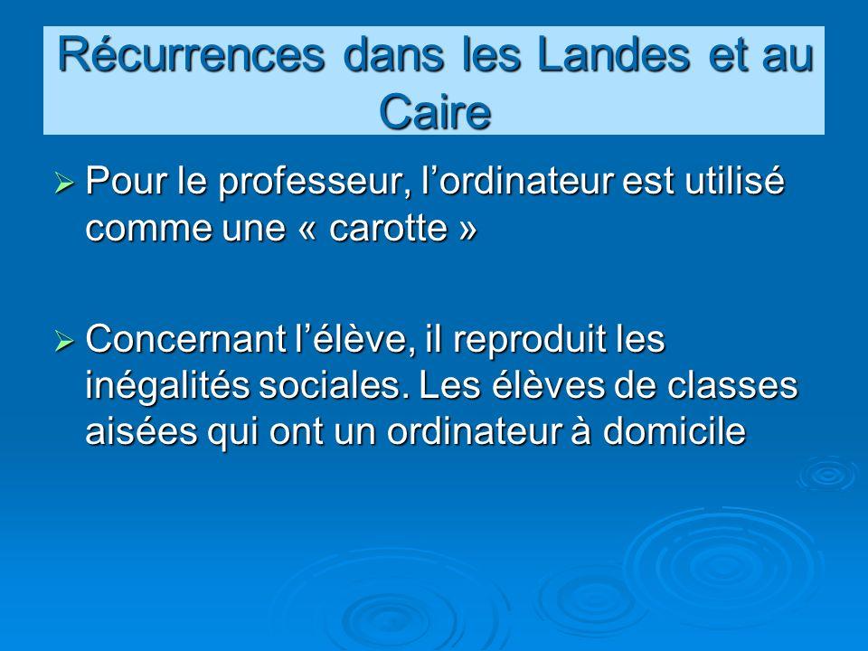 Récurrences dans les Landes et au Caire Pour le professeur, lordinateur est utilisé comme une « carotte » Pour le professeur, lordinateur est utilisé comme une « carotte » Concernant lélève, il reproduit les inégalités sociales.