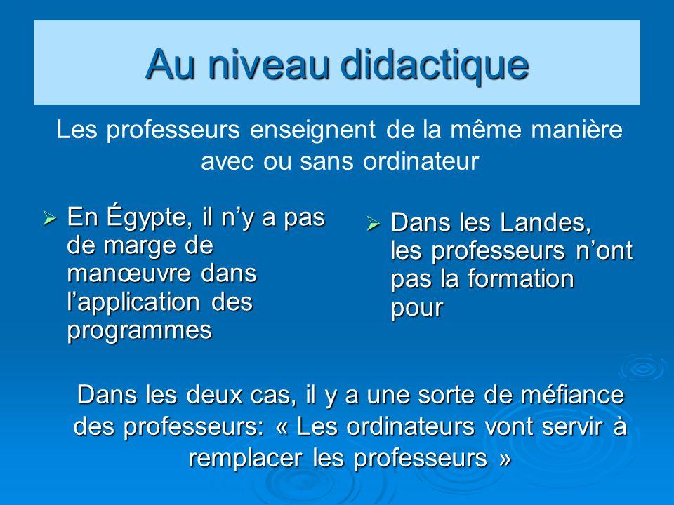 Au niveau didactique En Égypte, il ny a pas de marge de manœuvre dans lapplication des programmes En Égypte, il ny a pas de marge de manœuvre dans lap
