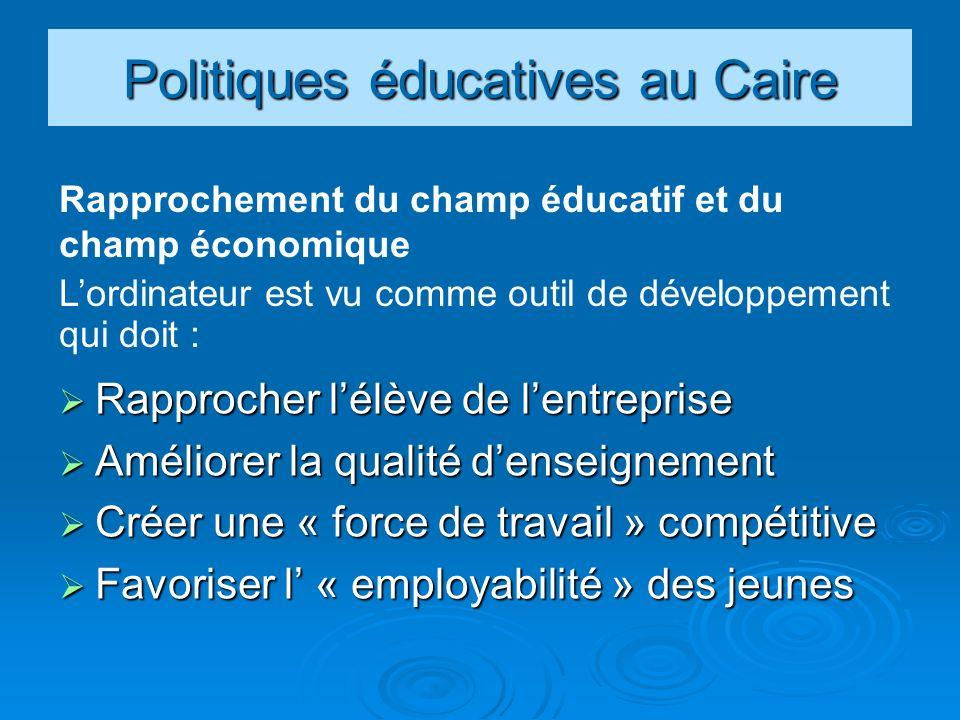Politiques éducatives au Caire Rapprocher lélève de lentreprise Rapprocher lélève de lentreprise Améliorer la qualité denseignement Améliorer la qualité denseignement Créer une « force de travail » compétitive Créer une « force de travail » compétitive Favoriser l « employabilité » des jeunes Favoriser l « employabilité » des jeunes Rapprochement du champ éducatif et du champ économique Lordinateur est vu comme outil de développement qui doit :