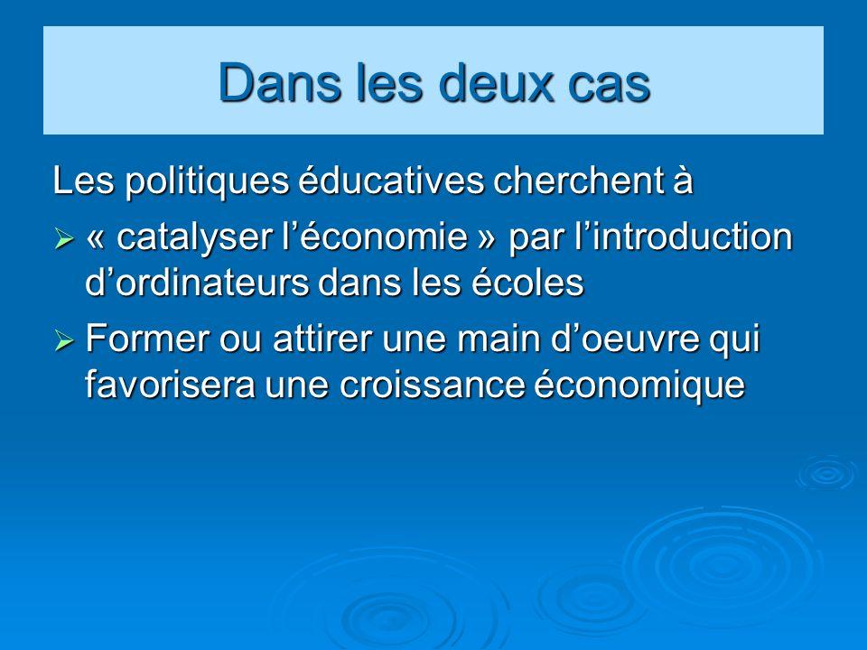 Dans les deux cas Les politiques éducatives cherchent à « catalyser léconomie » par lintroduction dordinateurs dans les écoles « catalyser léconomie » par lintroduction dordinateurs dans les écoles Former ou attirer une main doeuvre qui favorisera une croissance économique Former ou attirer une main doeuvre qui favorisera une croissance économique