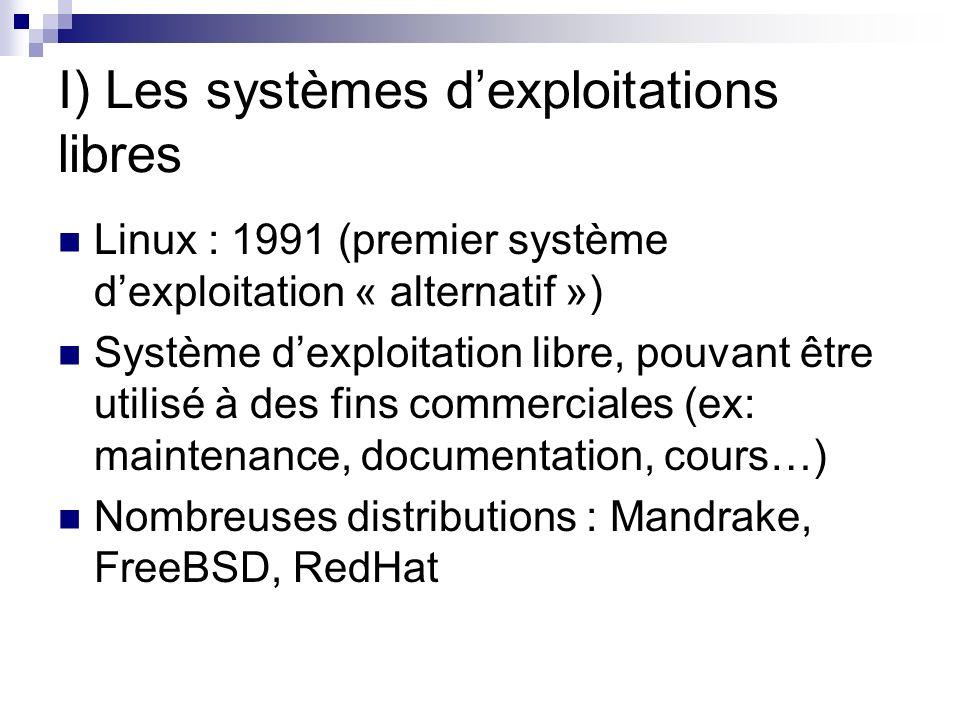 II) Les logiciels libres Ensemble de logiciels GNU : Crée par Richard Stallman en 1984Richard Stallman Emacs (traitement de texte) GCC (compilateur de code source) Gnome (interface graphique) … Open office