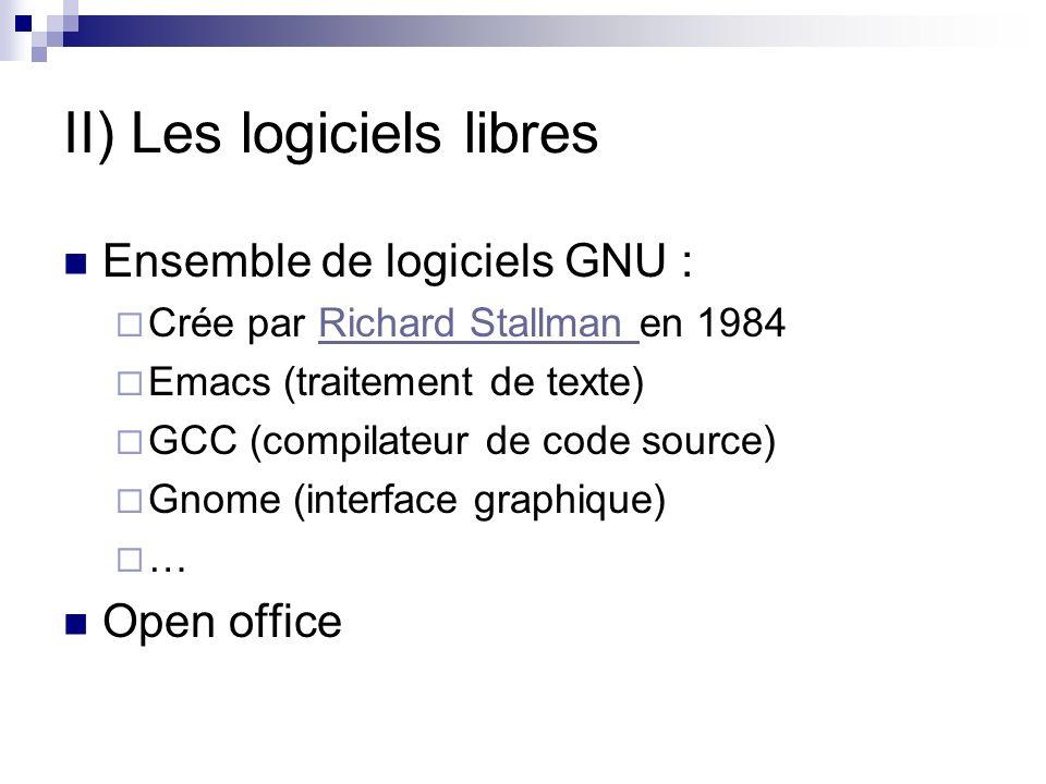 II) Les logiciels libres Ensemble de logiciels GNU : Crée par Richard Stallman en 1984Richard Stallman Emacs (traitement de texte) GCC (compilateur de