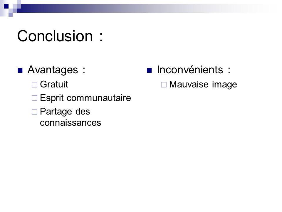 Conclusion : Avantages : Gratuit Esprit communautaire Partage des connaissances Inconvénients : Mauvaise image