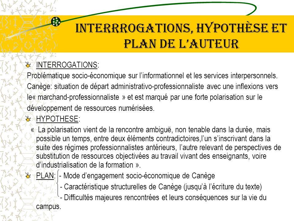 INTERRROGATIONS, hypothèse et plan DE LAUTEUR INTERROGATIONS: Problématique socio-économique sur linformationnel et les services interpersonnels. Canè