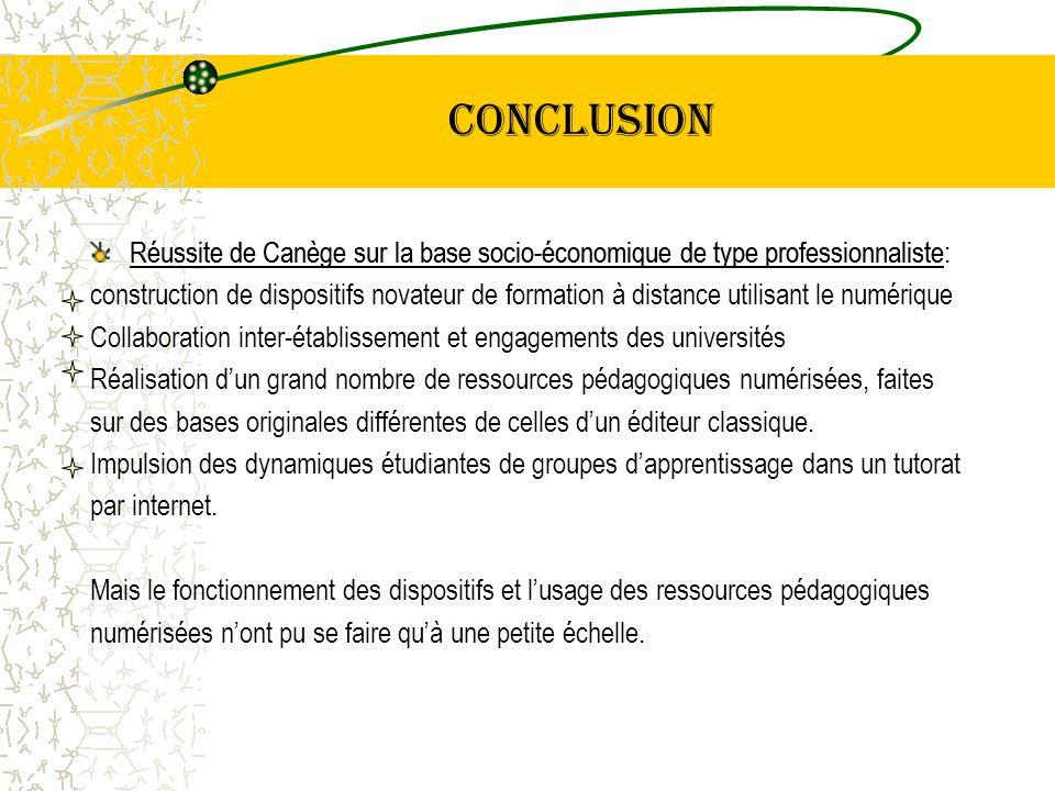 conclusion Réussite de Canège sur la base socio-économique de type professionnaliste: construction de dispositifs novateur de formation à distance uti