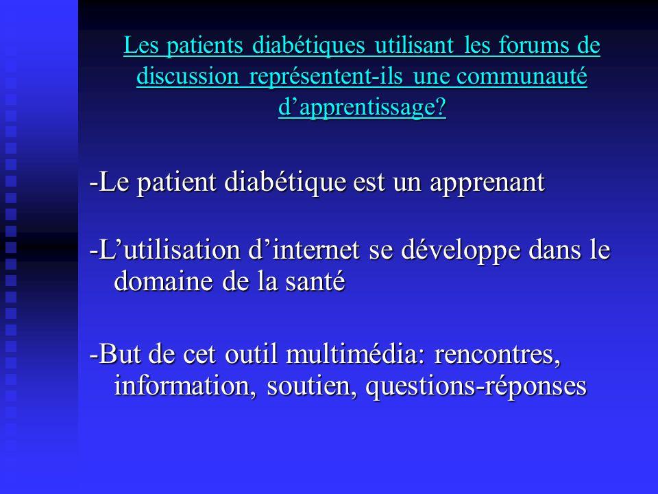 Les patients diabétiques utilisant les forums de discussion représentent-ils une communauté dapprentissage.