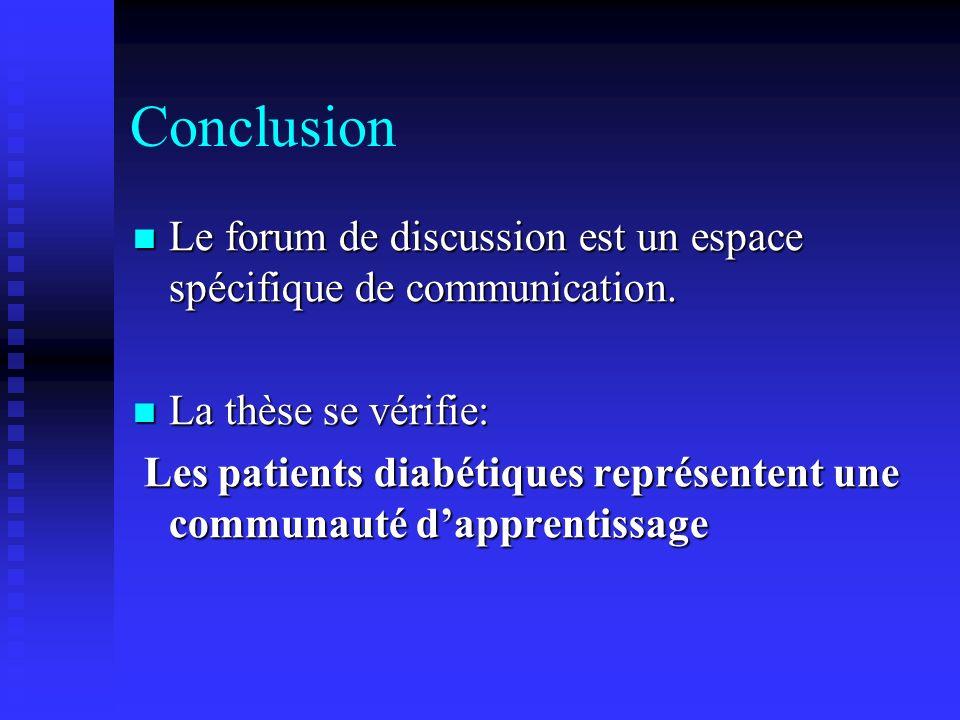 Conclusion Le forum de discussion est un espace spécifique de communication.