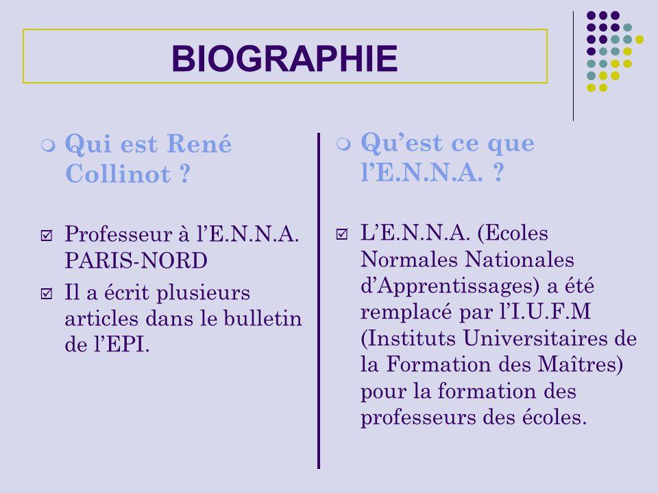 BIOGRAPHIE Qui est René Collinot ? Professeur à lE.N.N.A. PARIS-NORD Il a écrit plusieurs articles dans le bulletin de lEPI. Quest ce que lE.N.N.A. ?