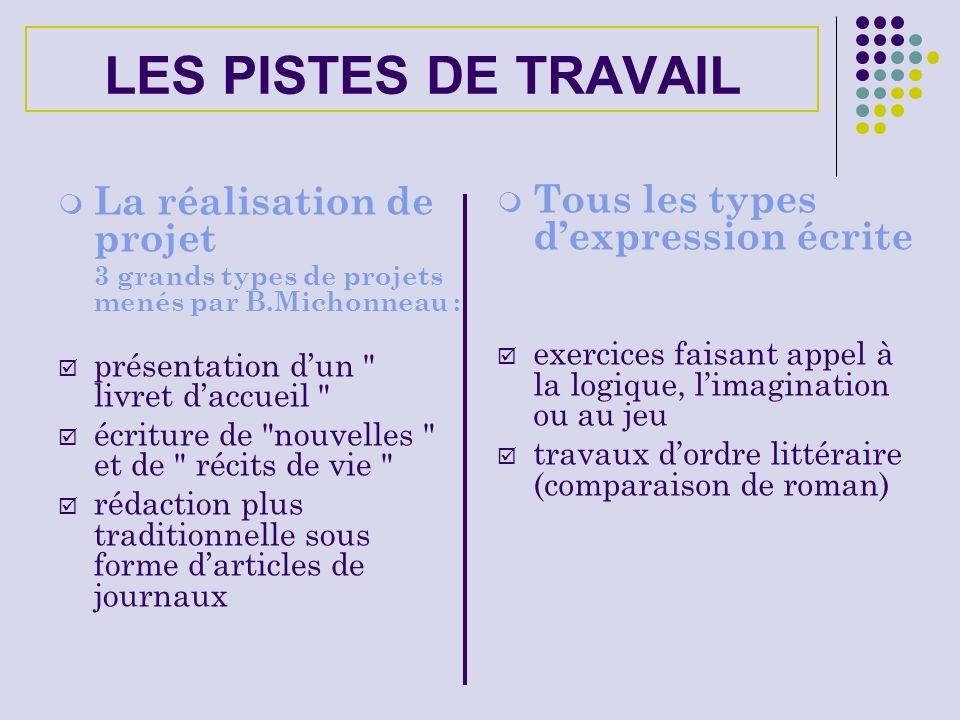 LES PISTES DE TRAVAIL La réalisation de projet 3 grands types de projets menés par B.Michonneau : présentation dun