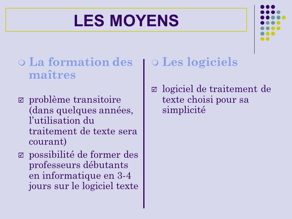 LES MOYENS La formation des maîtres problème transitoire (dans quelques années, lutilisation du traitement de texte sera courant) possibilité de forme