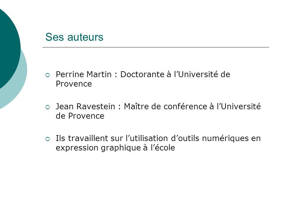 Ses auteurs Perrine Martin : Doctorante à lUniversité de Provence Jean Ravestein : Maître de conférence à lUniversité de Provence Ils travaillent sur