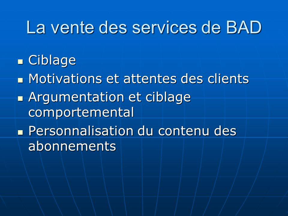 La vente des services de BAD Ciblage Ciblage Motivations et attentes des clients Motivations et attentes des clients Argumentation et ciblage comporte
