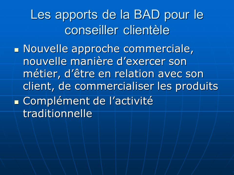 Les apports de la BAD pour le conseiller clientèle Nouvelle approche commerciale, nouvelle manière dexercer son métier, dêtre en relation avec son cli