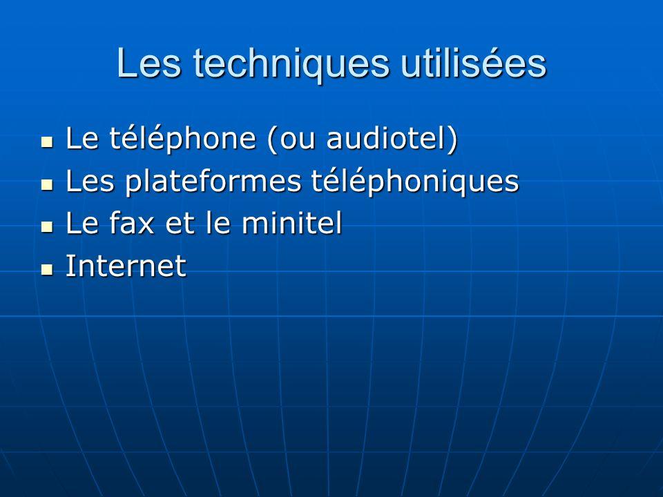 Les techniques utilisées Le téléphone (ou audiotel) Le téléphone (ou audiotel) Les plateformes téléphoniques Les plateformes téléphoniques Le fax et l