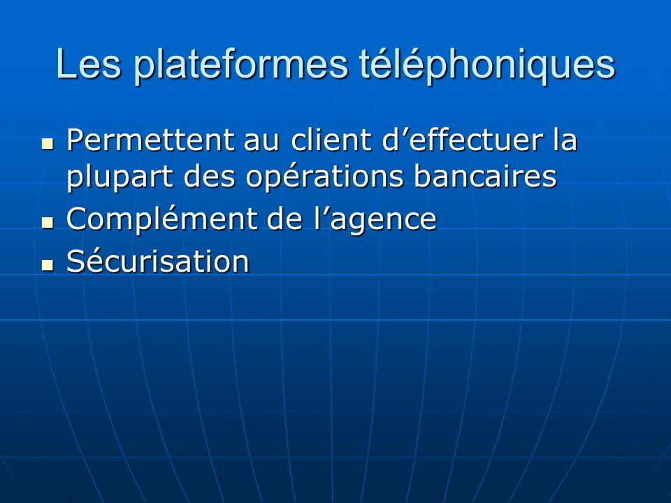 Les plateformes téléphoniques Permettent au client deffectuer la plupart des opérations bancaires Permettent au client deffectuer la plupart des opéra
