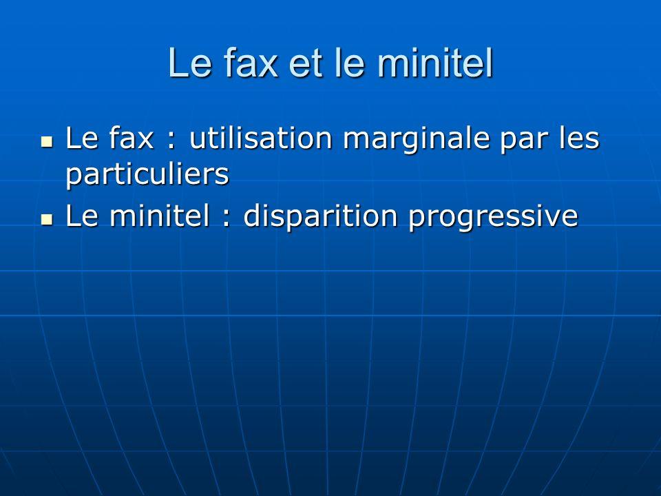 Le fax et le minitel Le fax : utilisation marginale par les particuliers Le fax : utilisation marginale par les particuliers Le minitel : disparition