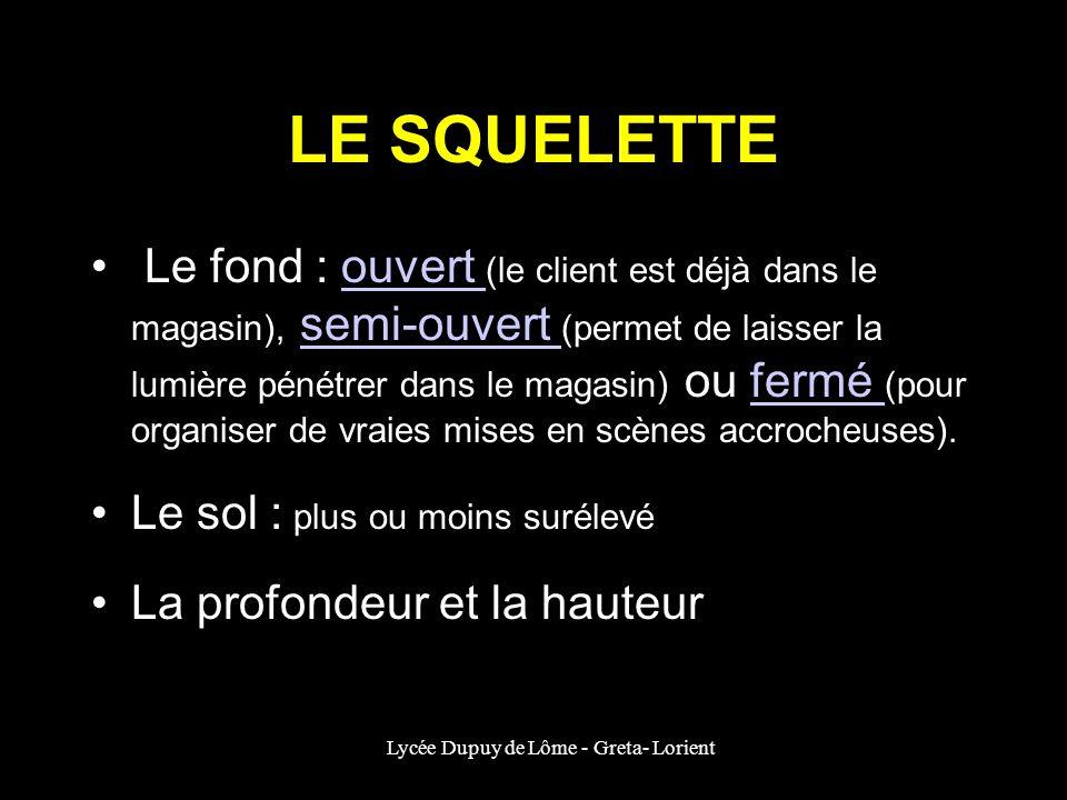 Lycée Dupuy de Lôme - Greta- Lorient LE SQUELETTE Le fond : ouvert (le client est déjà dans le magasin), semi-ouvert (permet de laisser la lumière pén