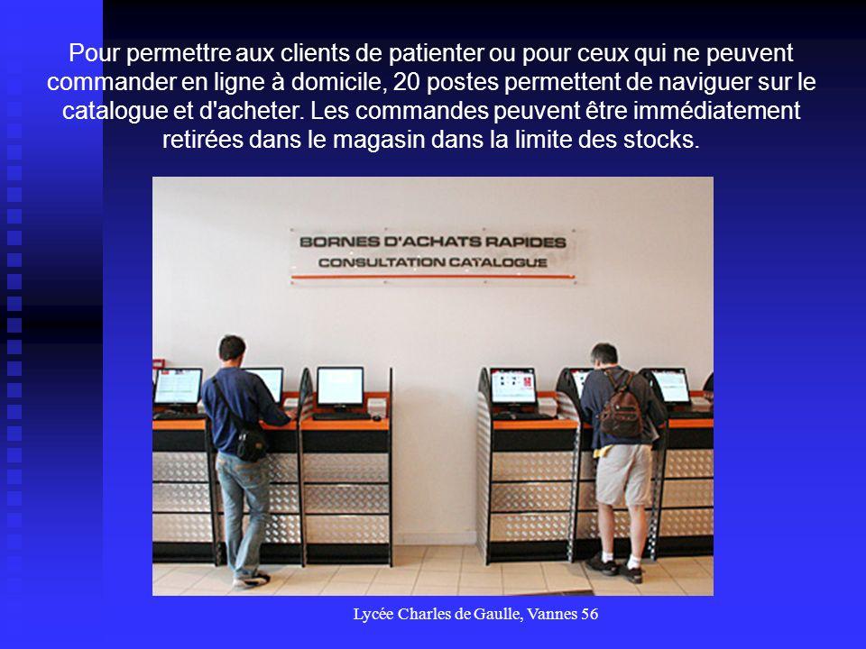 Lycée Charles de Gaulle, Vannes 56 Un espace de paiement accepte les moyens de paiement alternatifs à la carte bancaire (liquide, chèque, et paiement par crédit) A l entrée du magasin, en face des bornes de navigation, deux appareils automatiques de paiement par carte bancaire sont proposés aux clients.