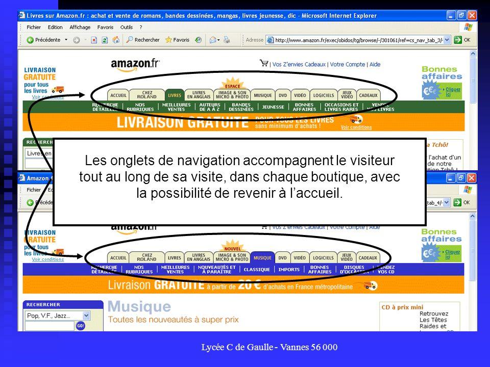Lycée C de Gaulle - Vannes 56 000 Les onglets de navigation accompagnent le visiteur tout au long de sa visite, dans chaque boutique, avec la possibil