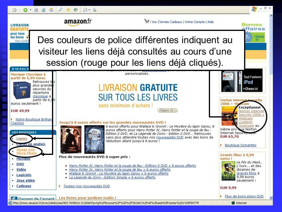 Lycée C de Gaulle - Vannes 56 000 Des couleurs de police différentes indiquent au visiteur les liens déjà consultés au cours dune session (rouge pour