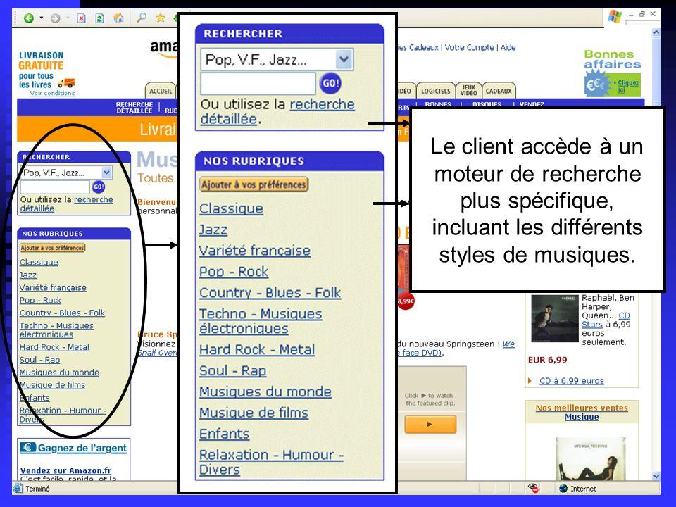 Lycée C de Gaulle - Vannes 56 000 Le client accède à un moteur de recherche plus spécifique, incluant les différents styles de musiques.