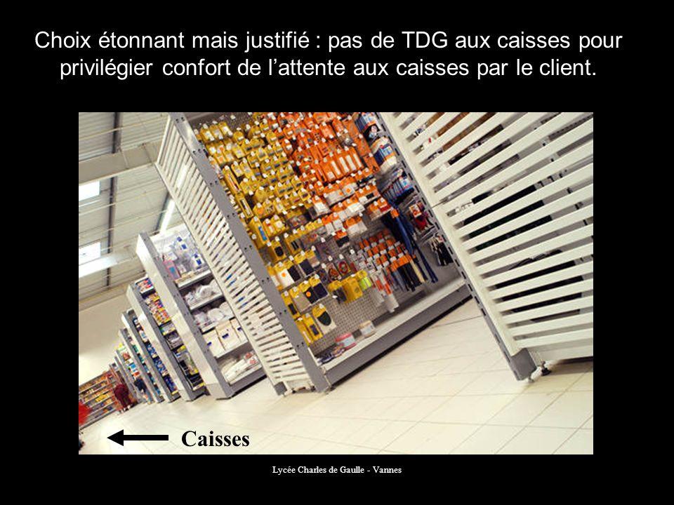 Lycée Charles de Gaulle - Vannes Choix étonnant mais justifié : pas de TDG aux caisses pour privilégier confort de lattente aux caisses par le client.