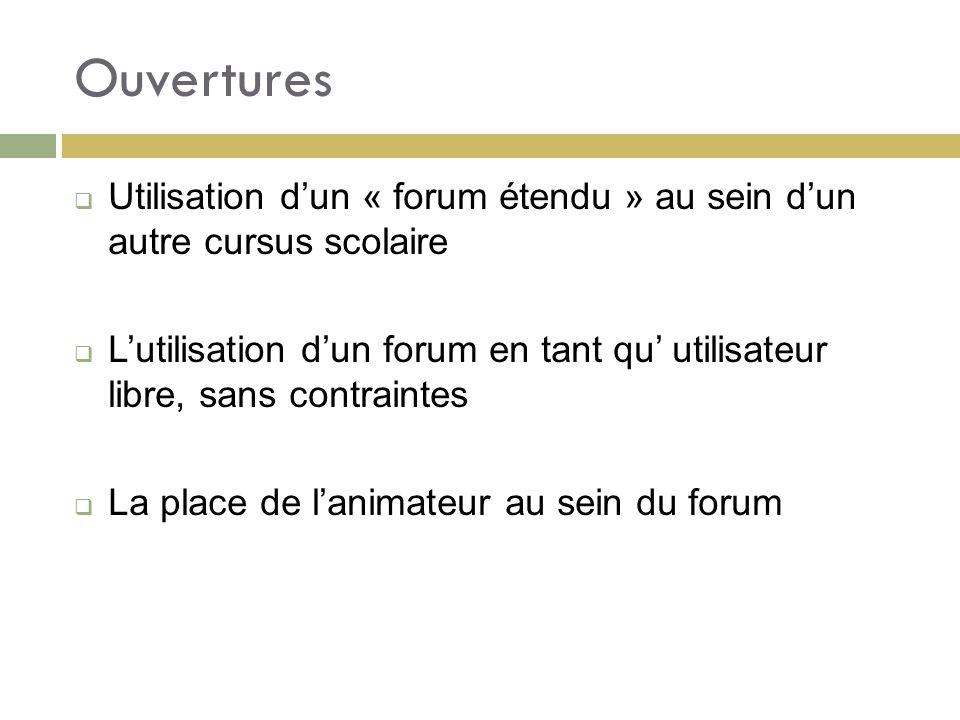 Ouvertures Utilisation dun « forum étendu » au sein dun autre cursus scolaire Lutilisation dun forum en tant qu utilisateur libre, sans contraintes La place de lanimateur au sein du forum