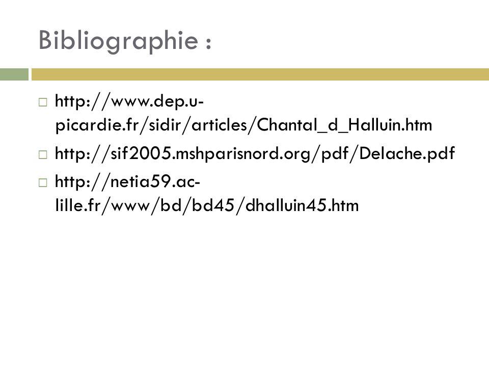 Bibliographie : http://www.dep.u- picardie.fr/sidir/articles/Chantal_d_Halluin.htm http://sif2005.mshparisnord.org/pdf/Delache.pdf http://netia59.ac- lille.fr/www/bd/bd45/dhalluin45.htm