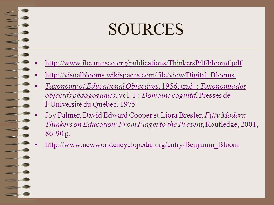 SOURCES http://www.ibe.unesco.org/publications/ThinkersPdf/bloomf.pdf http://visualblooms.wikispaces.com/file/view/Digital_Blooms.http://visualblooms.