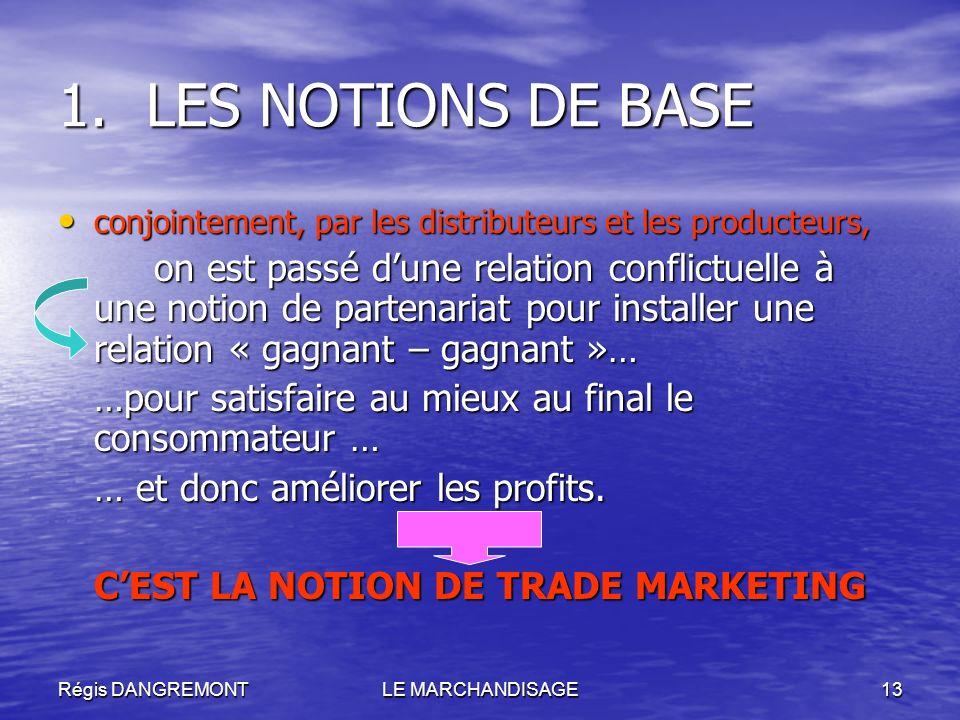 Régis DANGREMONTLE MARCHANDISAGE13 1.LES NOTIONS DE BASE conjointement, par les distributeurs et les producteurs, conjointement, par les distributeurs