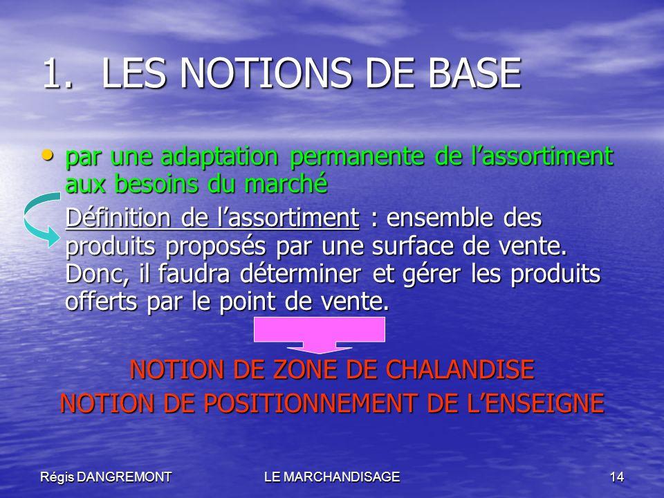Régis DANGREMONTLE MARCHANDISAGE14 1.LES NOTIONS DE BASE par une adaptation permanente de lassortiment aux besoins du marché par une adaptation perman