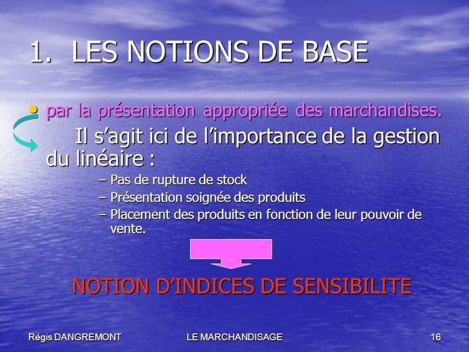 Régis DANGREMONTLE MARCHANDISAGE16 1.LES NOTIONS DE BASE par la présentation appropriée des marchandises. par la présentation appropriée des marchandi