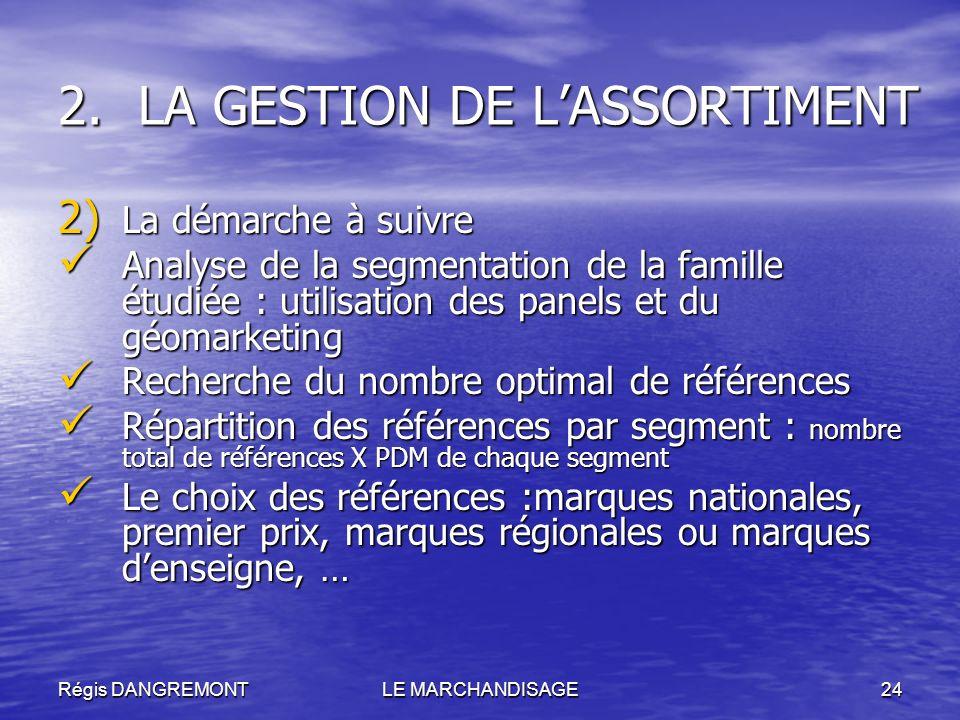 Régis DANGREMONTLE MARCHANDISAGE24 2.LA GESTION DE LASSORTIMENT 2) La démarche à suivre Analyse de la segmentation de la famille étudiée : utilisation