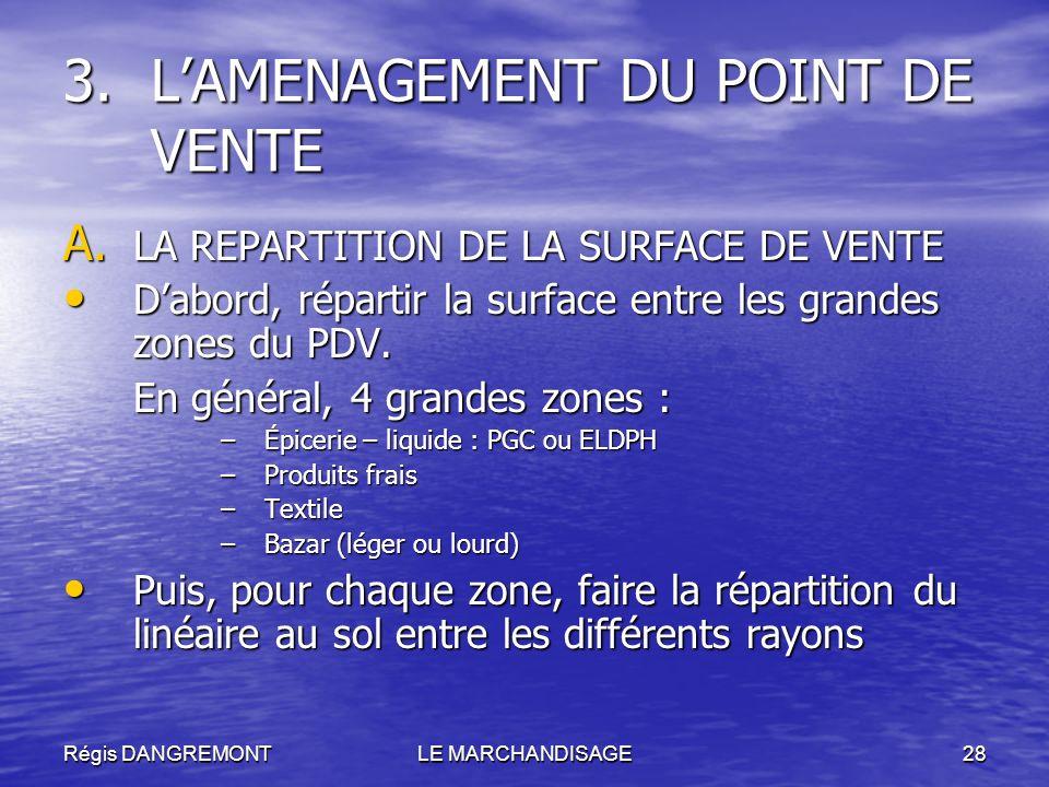 Régis DANGREMONTLE MARCHANDISAGE28 A. LA REPARTITION DE LA SURFACE DE VENTE Dabord, répartir la surface entre les grandes zones du PDV. Dabord, répart
