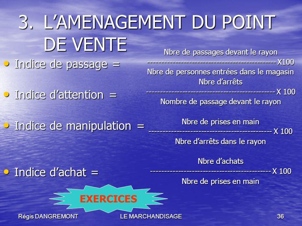 Régis DANGREMONTLE MARCHANDISAGE36 3.LAMENAGEMENT DU POINT DE VENTE Indice de passage = Indice de passage = Indice dattention = Indice dattention = In